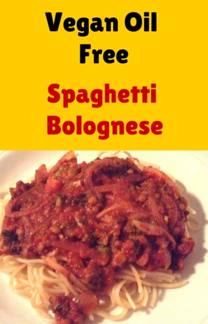 Vegan No OIl Spaghetti Bolognese